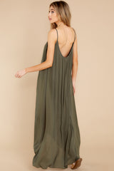 7 Hit The Road Dark Olive Maxi Dress at reddress.com