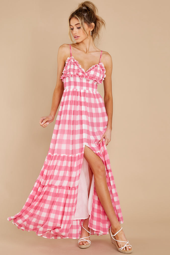 1 Catalina Gingham Pink Maxi Dress at reddress.com