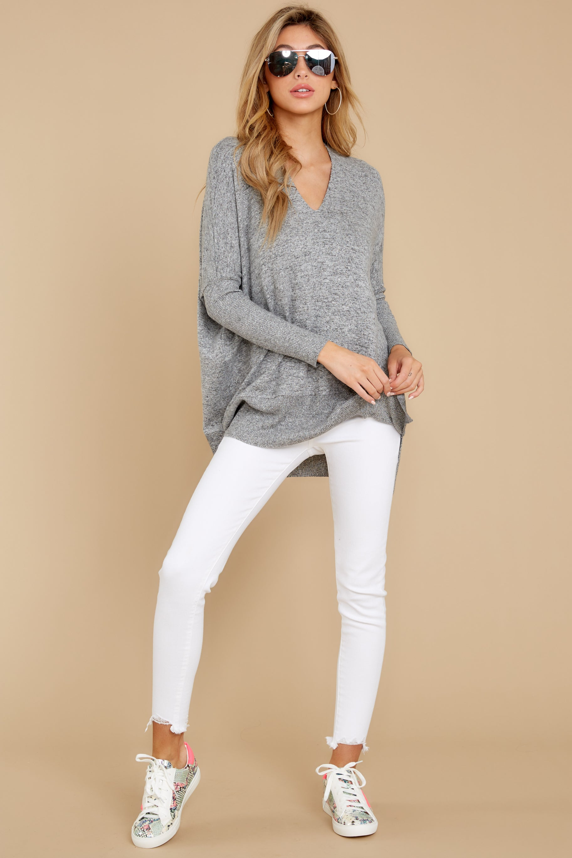 3 Any Which Way Heather Grey Sweater at reddressboutique.com