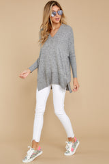 2 Any Which Way Heather Grey Sweater at reddressboutique.com
