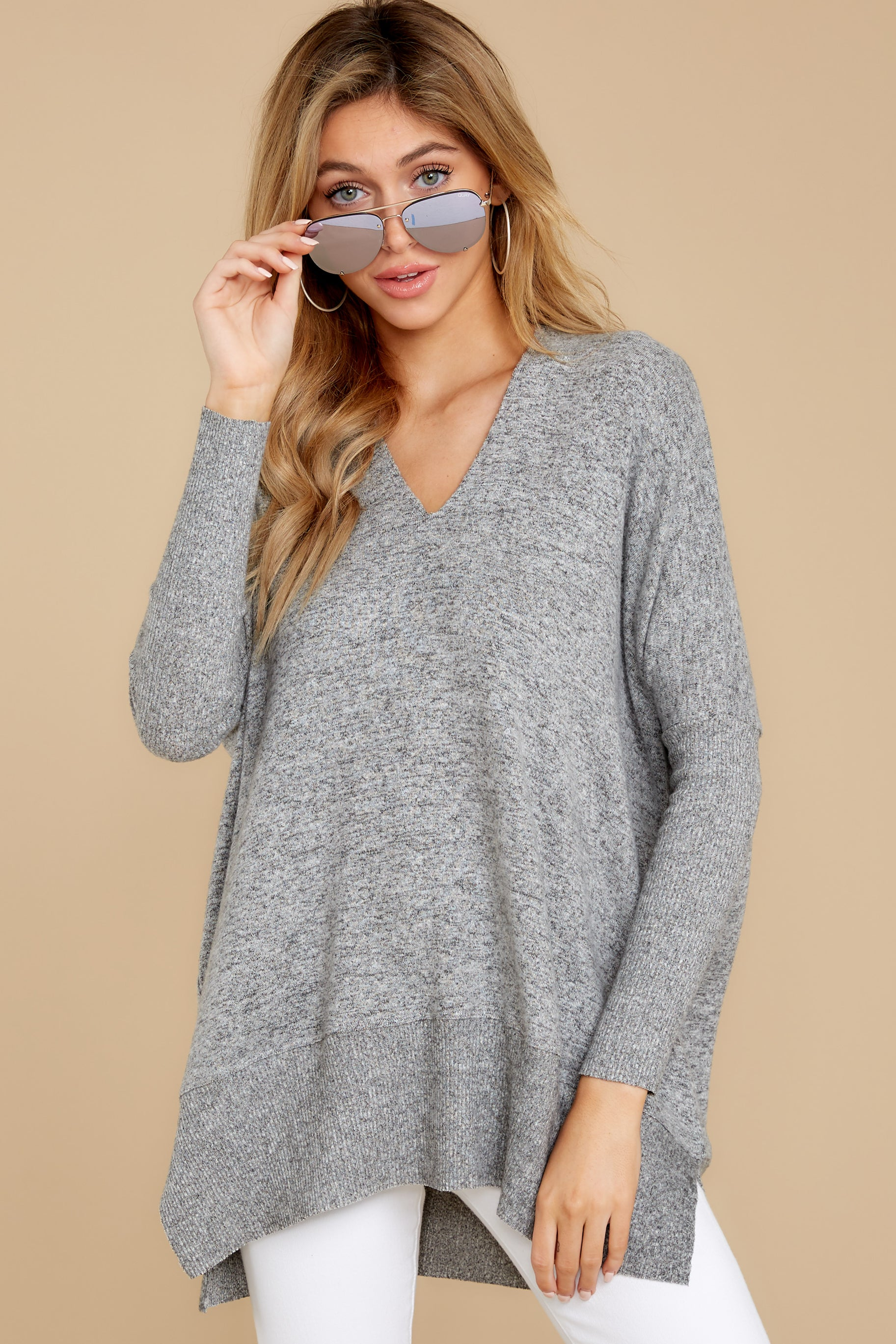 4 Any Which Way Heather Grey Sweater at reddressboutique.com