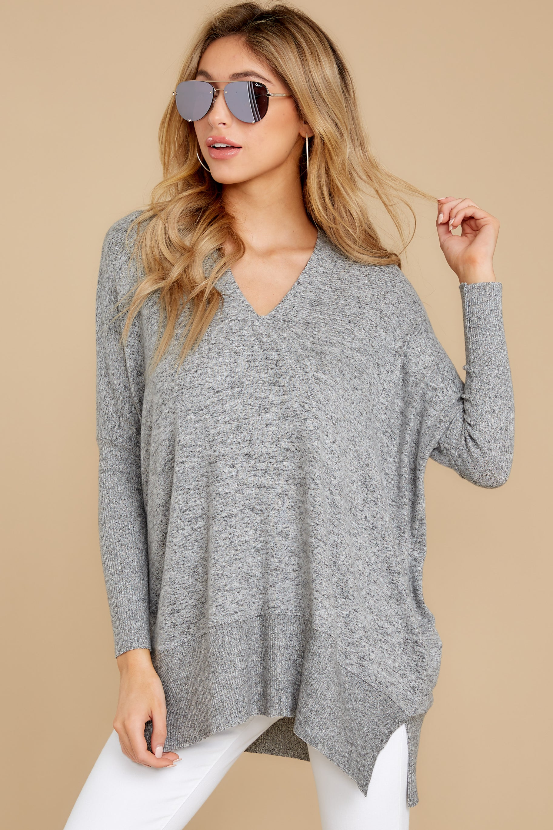 5 Any Which Way Heather Grey Sweater at reddressboutique.com