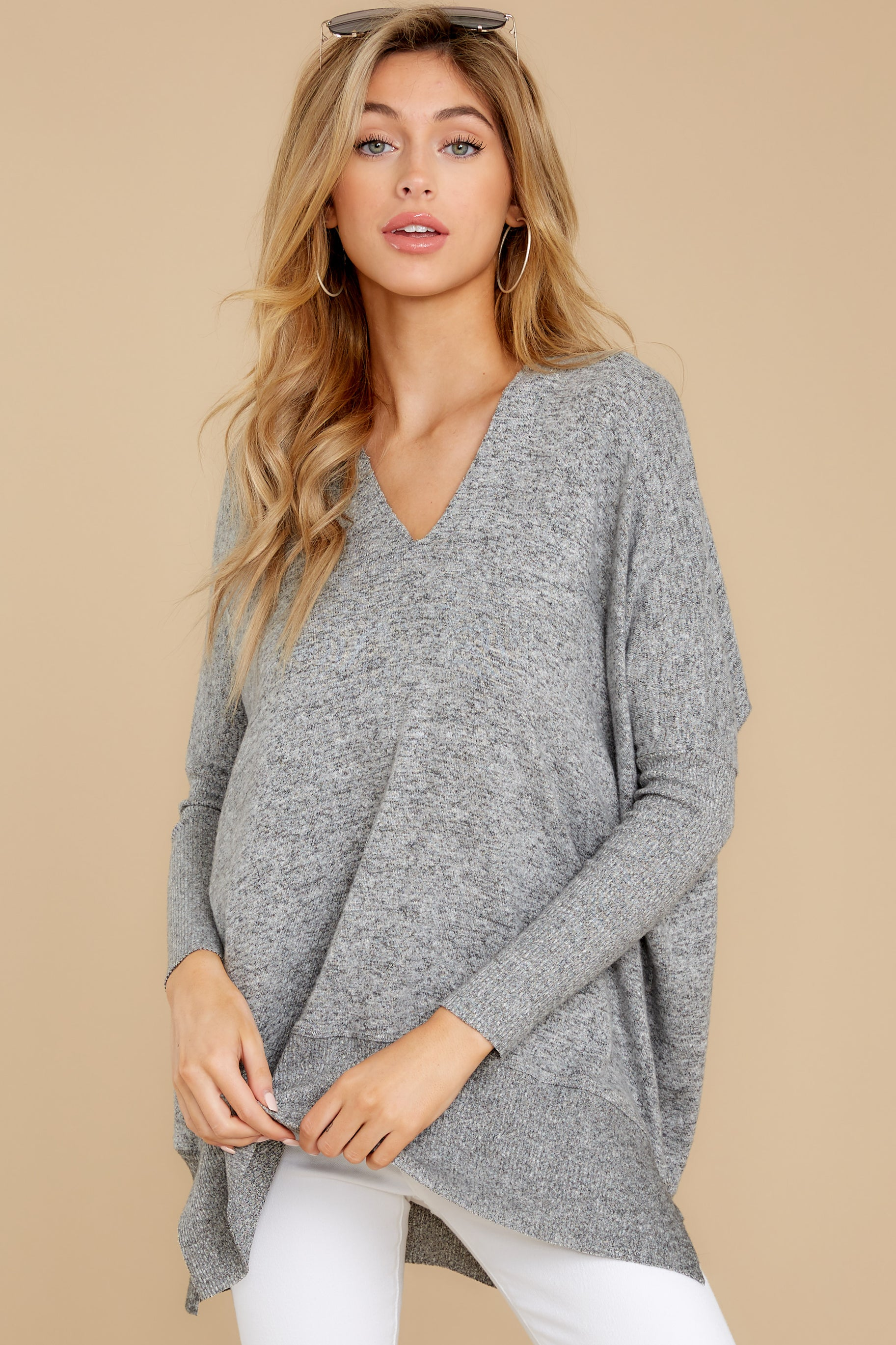 6 Any Which Way Heather Grey Sweater at reddressboutique.com