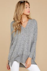 7 Any Which Way Heather Grey Sweater at reddressboutique.com