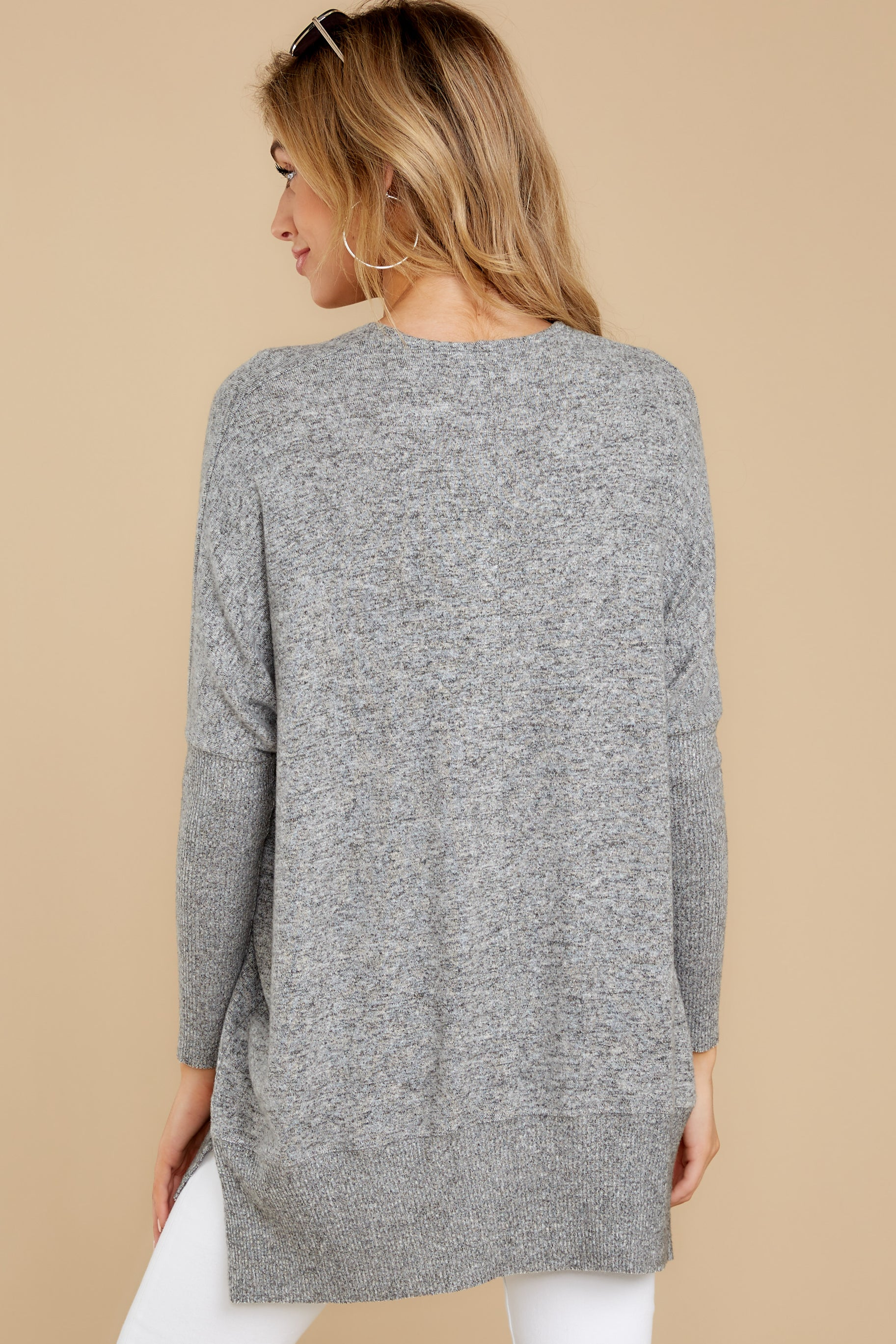 8 Any Which Way Heather Grey Sweater at reddressboutique.com