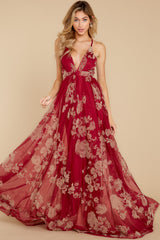 3 Gorgeous Gal Wine Red Maxi Dress at reddress.com