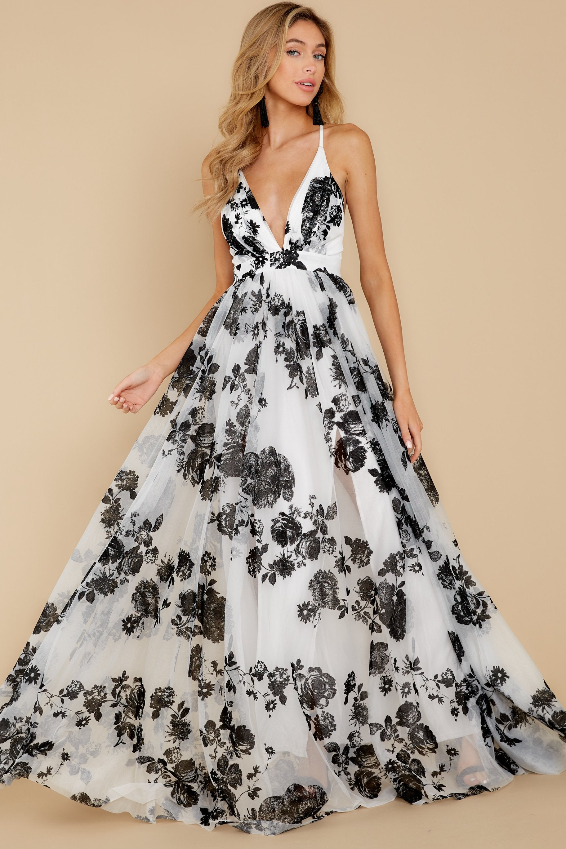 4 Gorgeous Gal White And Black Floral Maxi Dress at reddressboutique.com