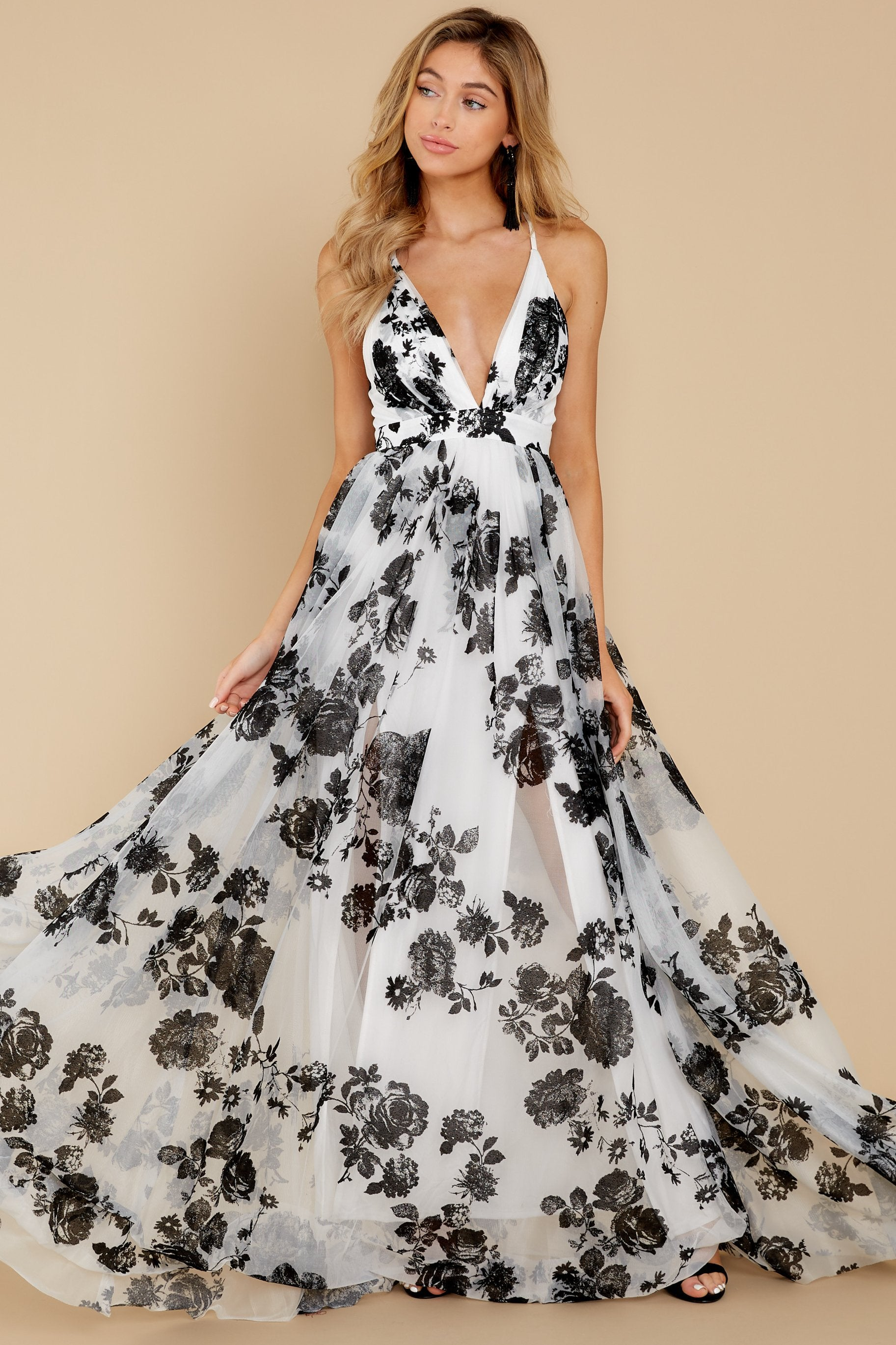 3 Gorgeous Gal White And Black Floral Maxi Dress at reddressboutique.com