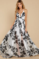 6 Gorgeous Gal White And Black Floral Maxi Dress at reddressboutique.com