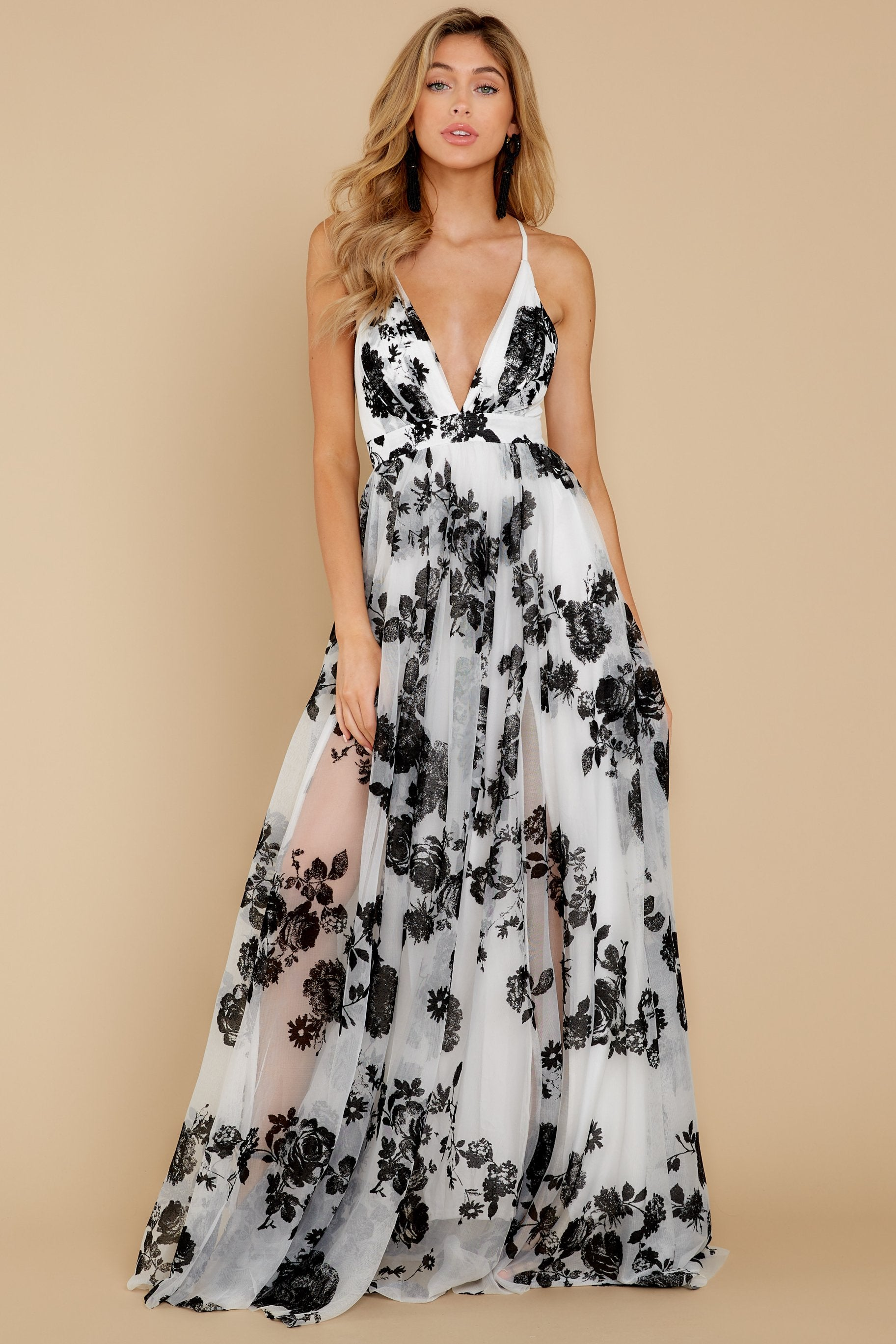 2 Gorgeous Gal White And Black Floral Maxi Dress at reddressboutique.com