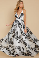 7 Gorgeous Gal White And Black Floral Maxi Dress at reddressboutique.com