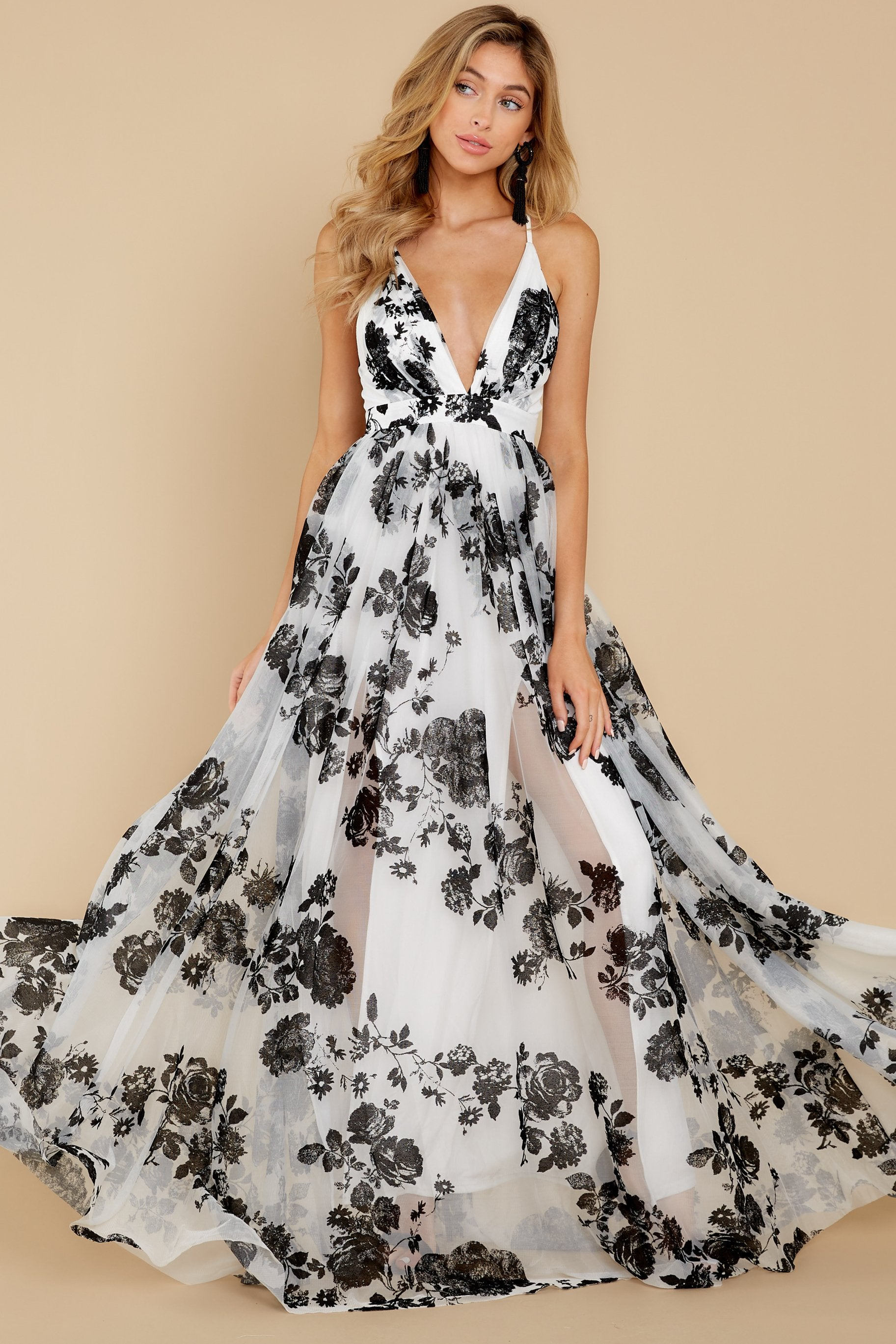 1 Gorgeous Gal White And Black Floral Maxi Dress at reddressboutique.com
