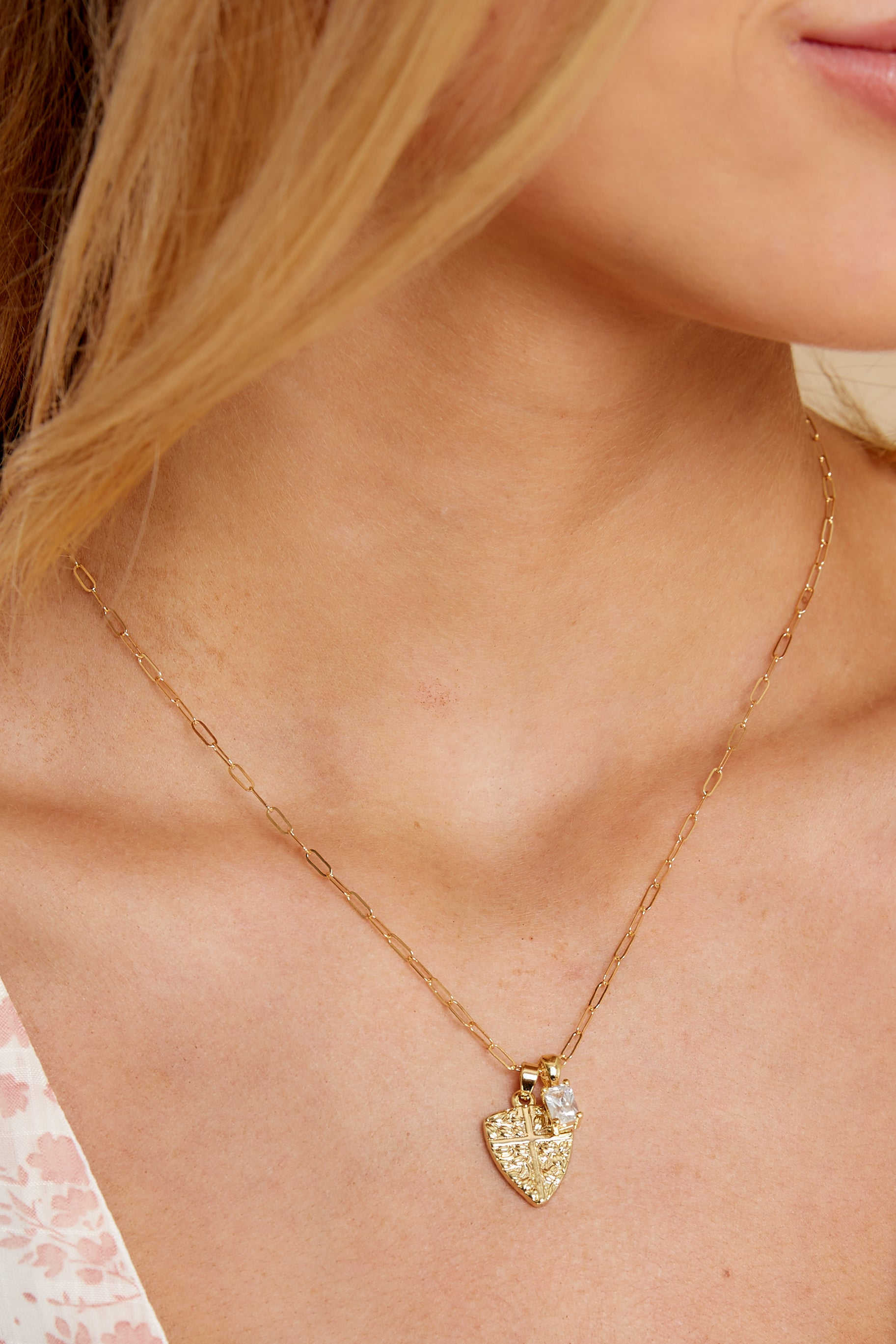 1 Protection Gold Charm Necklace @ reddress.com