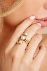1 Gold Pearl Ring at redressboutique.com