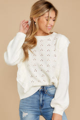 6 All About Me Ivory Sweater at reddressboutique.com