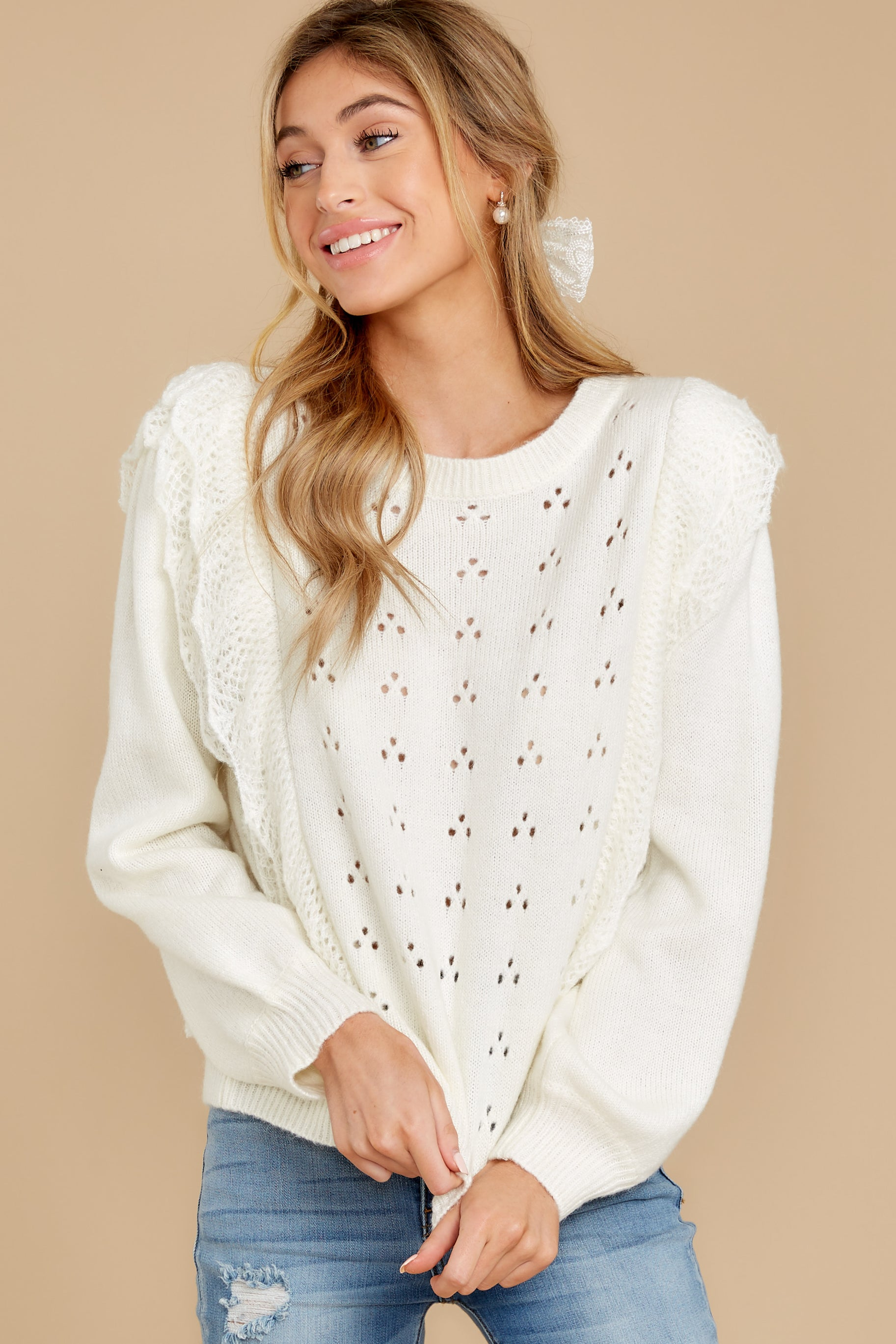 7 All About Me Ivory Sweater at reddressboutique.com