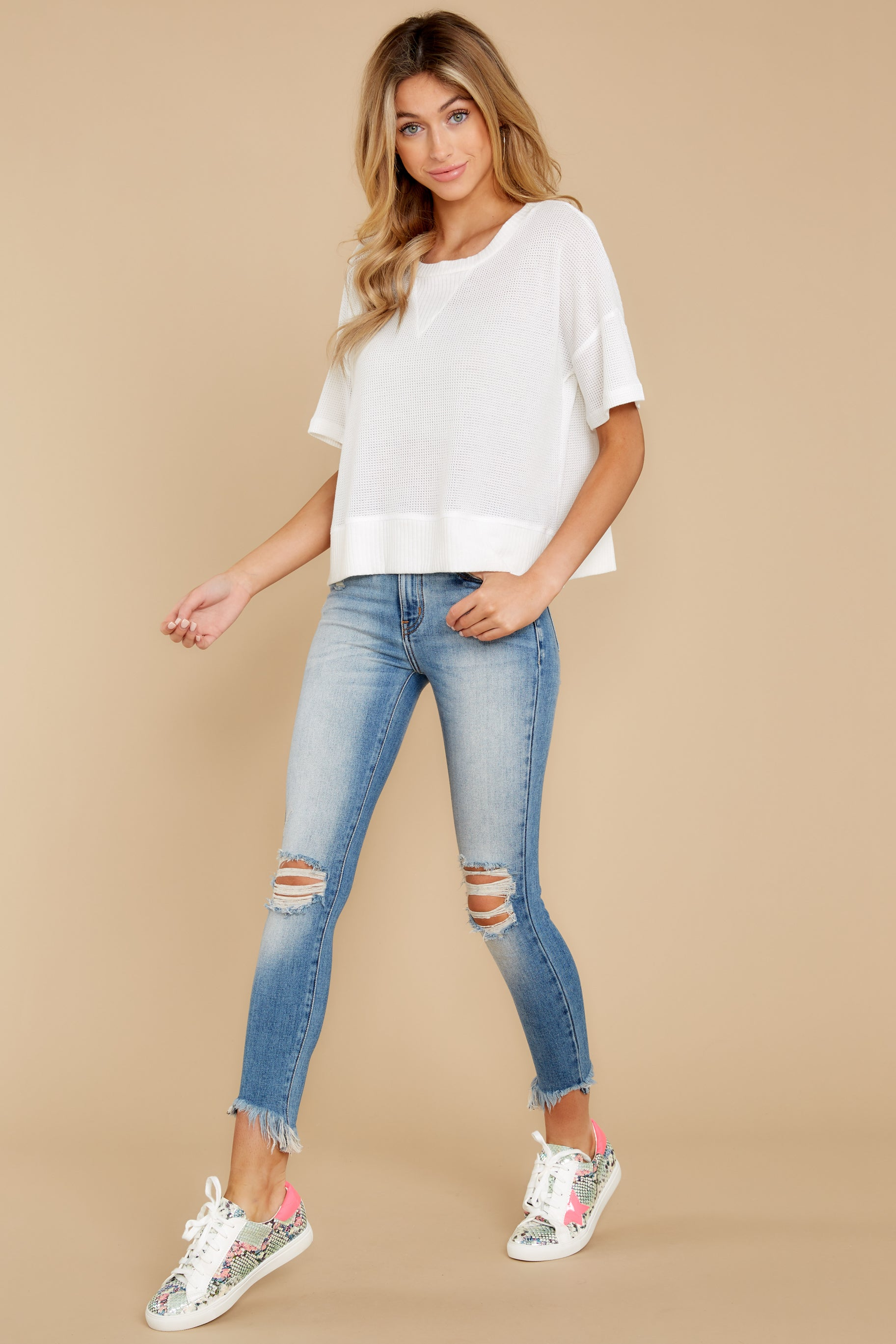 5 It's All Casual White Top at reddress.com
