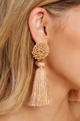 1 Give Me It All Tan Statement Earrings at reddressboutique.com
