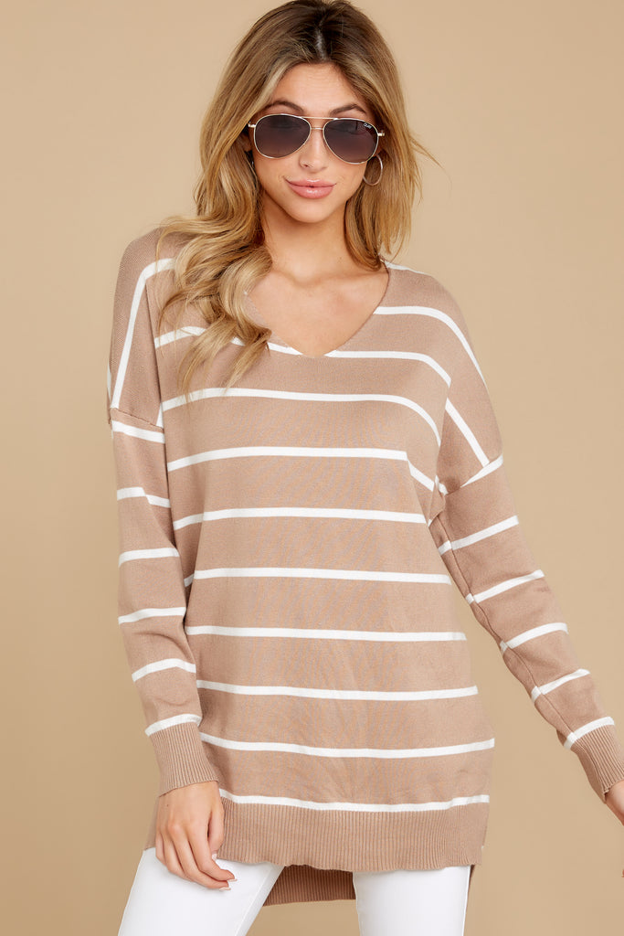 6 Call The Girls Beige Color Block Sweater at reddressboutique.com
