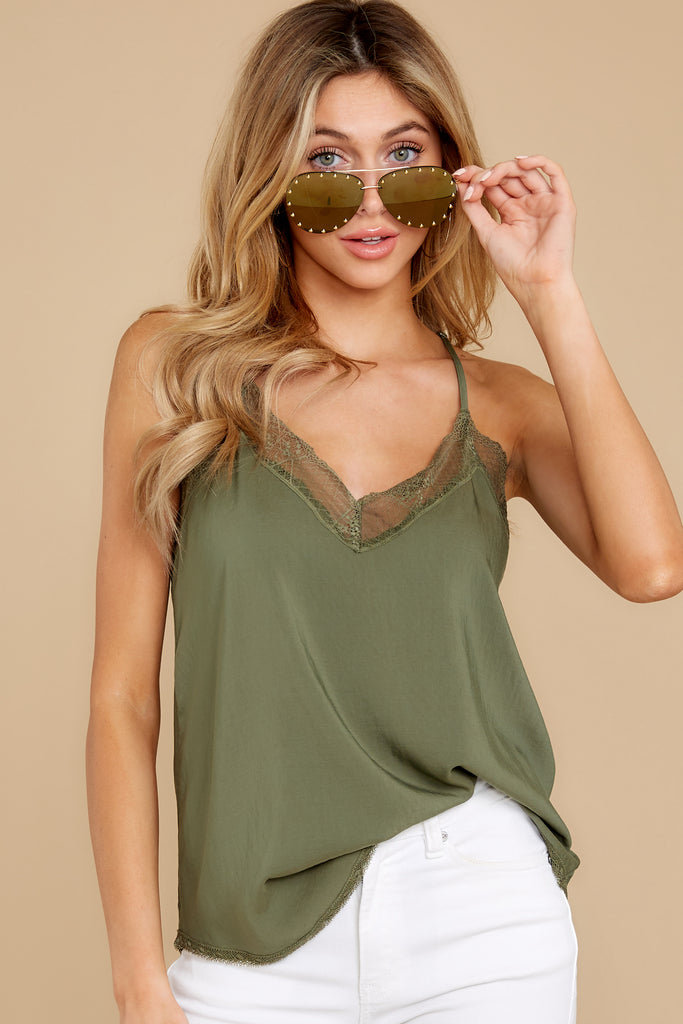 1 It's Just Simple Olive Green Lace Tank Top at reddressboutique.com