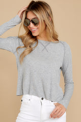 6 No Looking Back Grey Top at reddressboutique.com