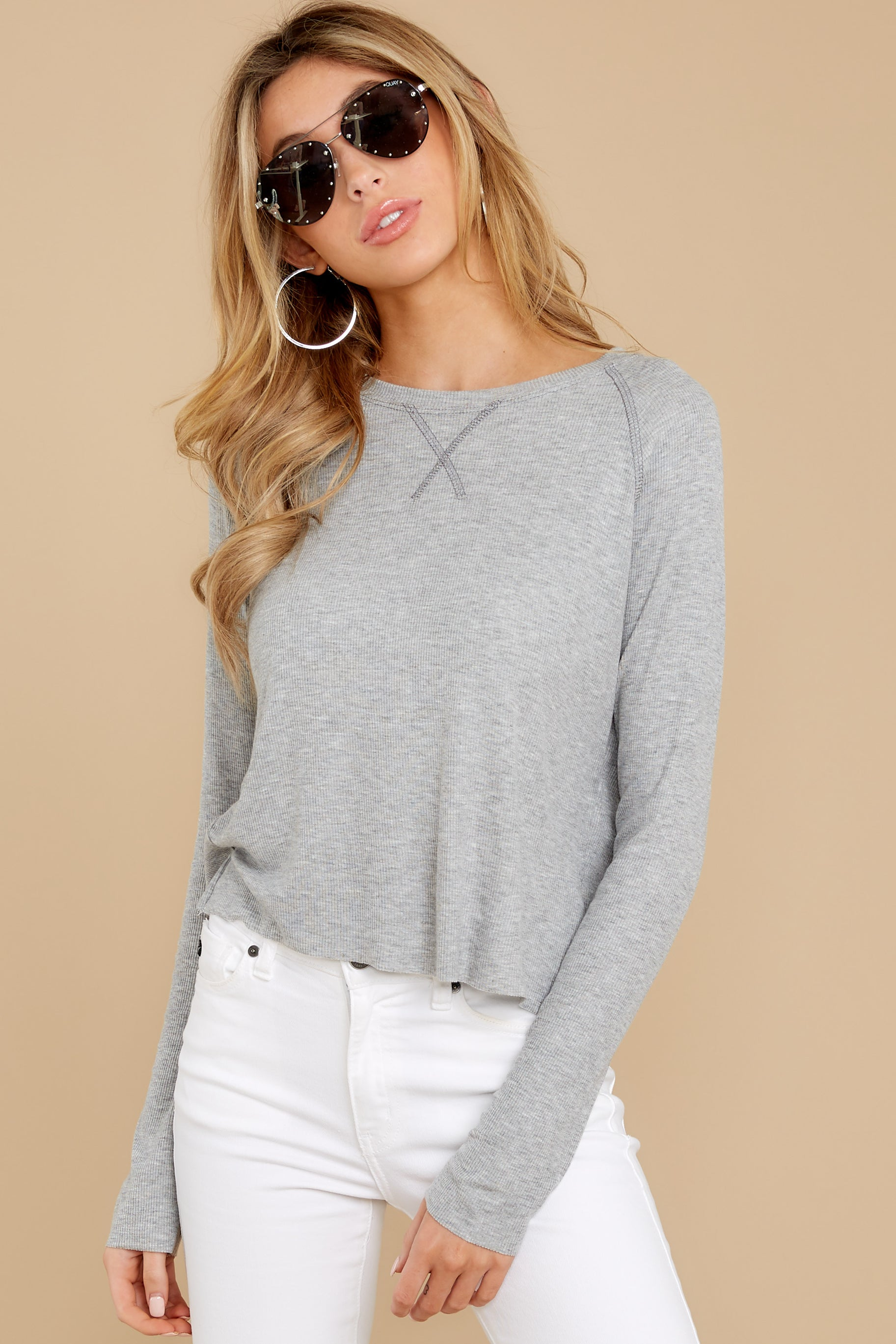 7 No Looking Back Grey Top at reddressboutique.com