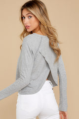 8 No Looking Back Grey Top at reddressboutique.com