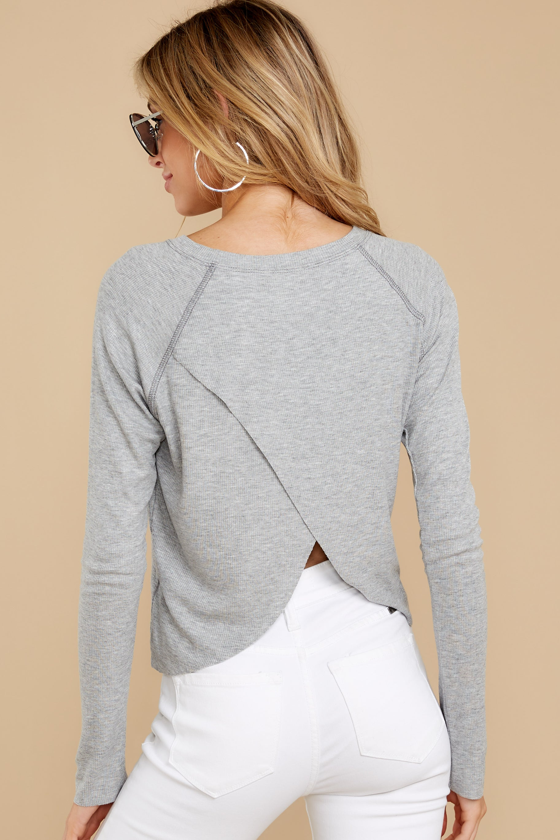 9 No Looking Back Grey Top at reddressboutique.com