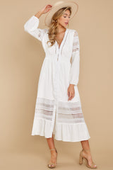 2 Call This Classic White Lace Midi Dress at reddressboutique.com