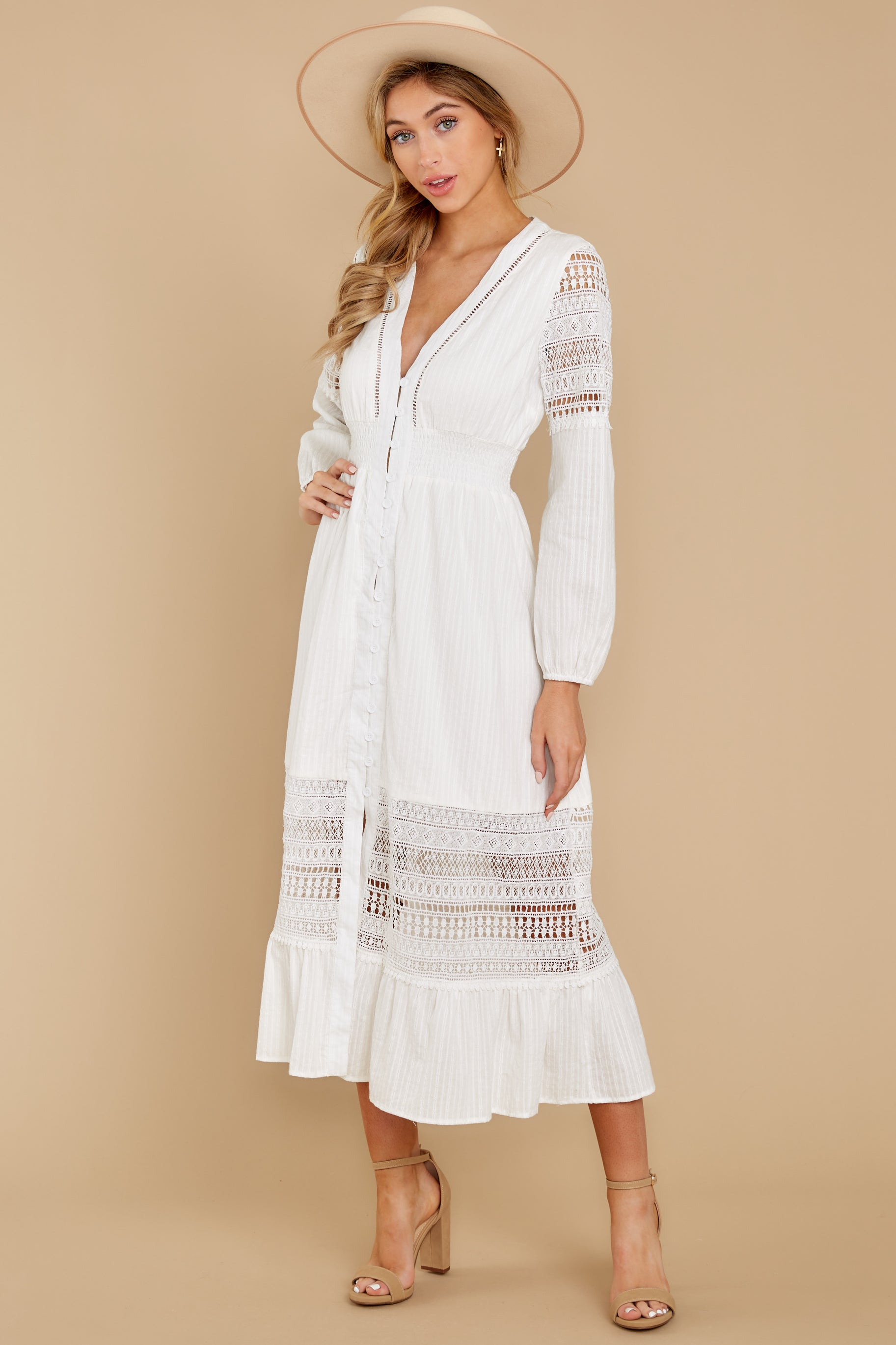 4 Call This Classic White Lace Midi Dress at reddress.com