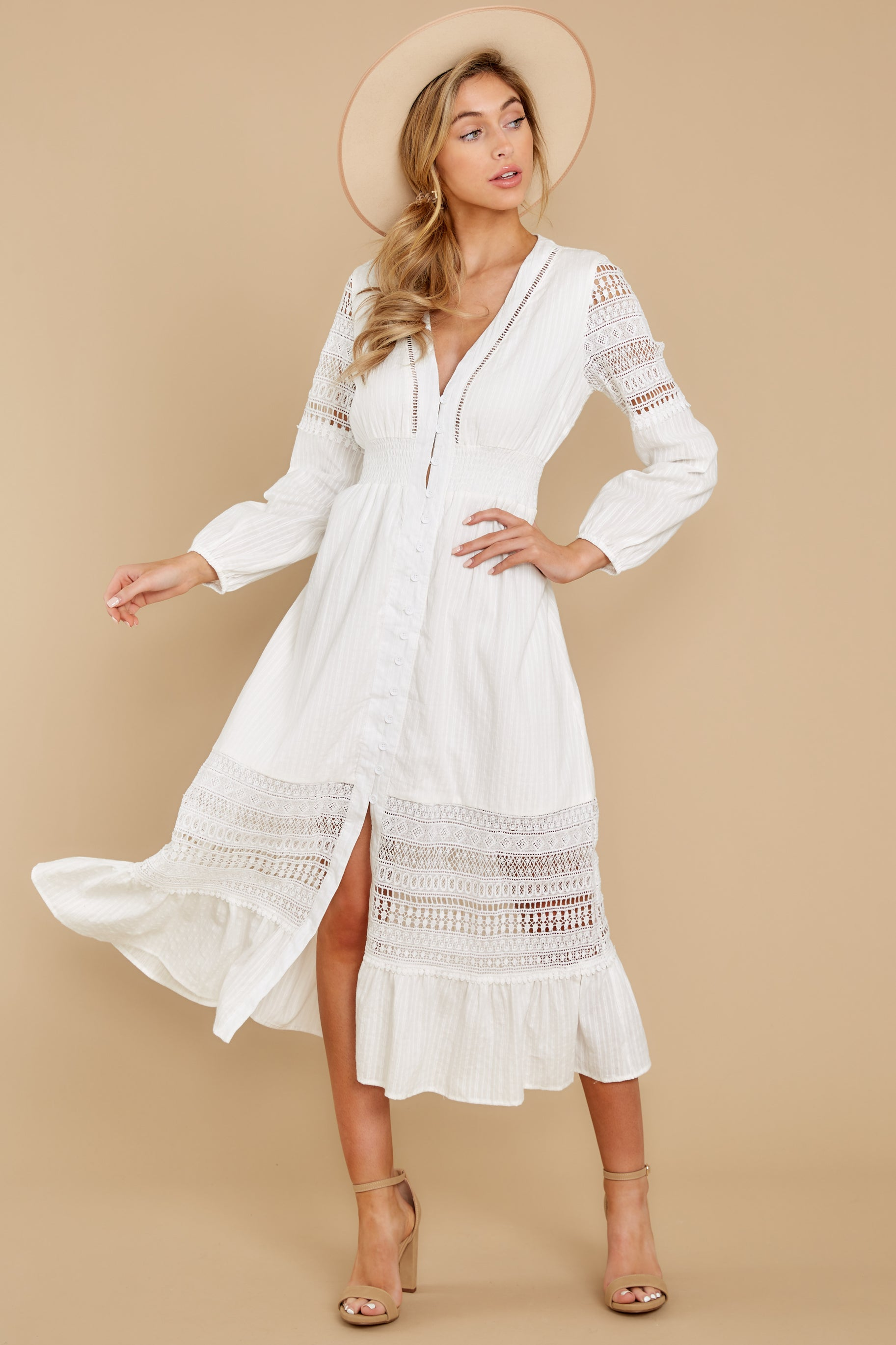 7 Call This Classic White Lace Midi Dress at reddress.com