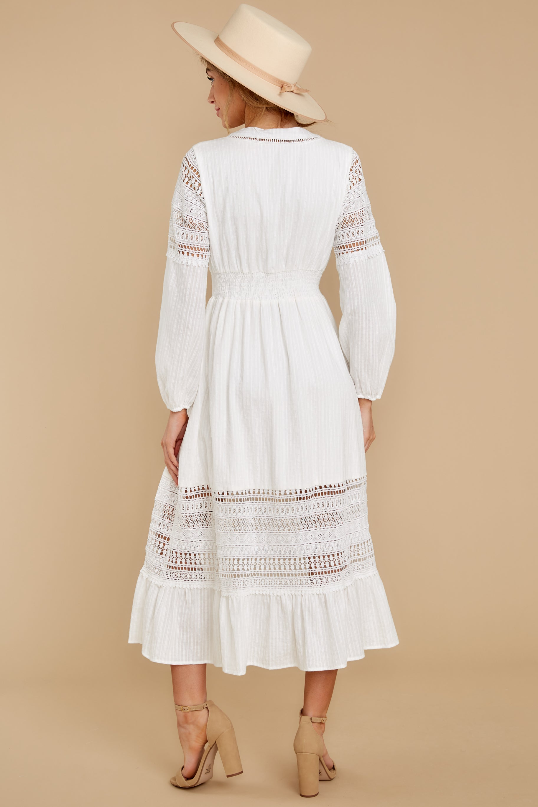 8 Call This Classic White Lace Midi Dress at reddressboutique.com
