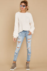 2 See My Way Ivory Chenille Sweater at reddressboutique.com