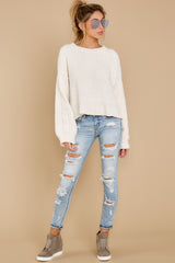 3 See My Way Ivory Chenille Sweater at reddressboutique.com