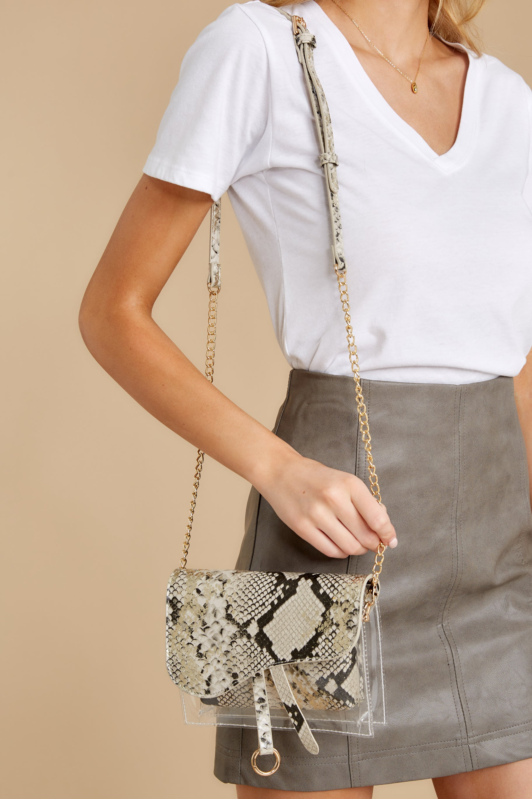 2 Everyone Will Know Beige Snake Print Purse at reddressboutique.com