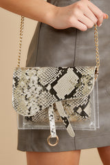 1 Everyone Will Know Beige Snake Print Purse at reddressboutique.com