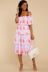 1 Walk Together Lavender Print Midi Dress at reddressboutique.com