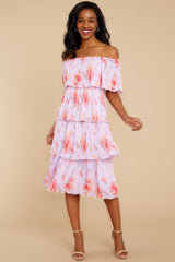 5 Walk Together Lavender Print Midi Dress at reddressboutique.com