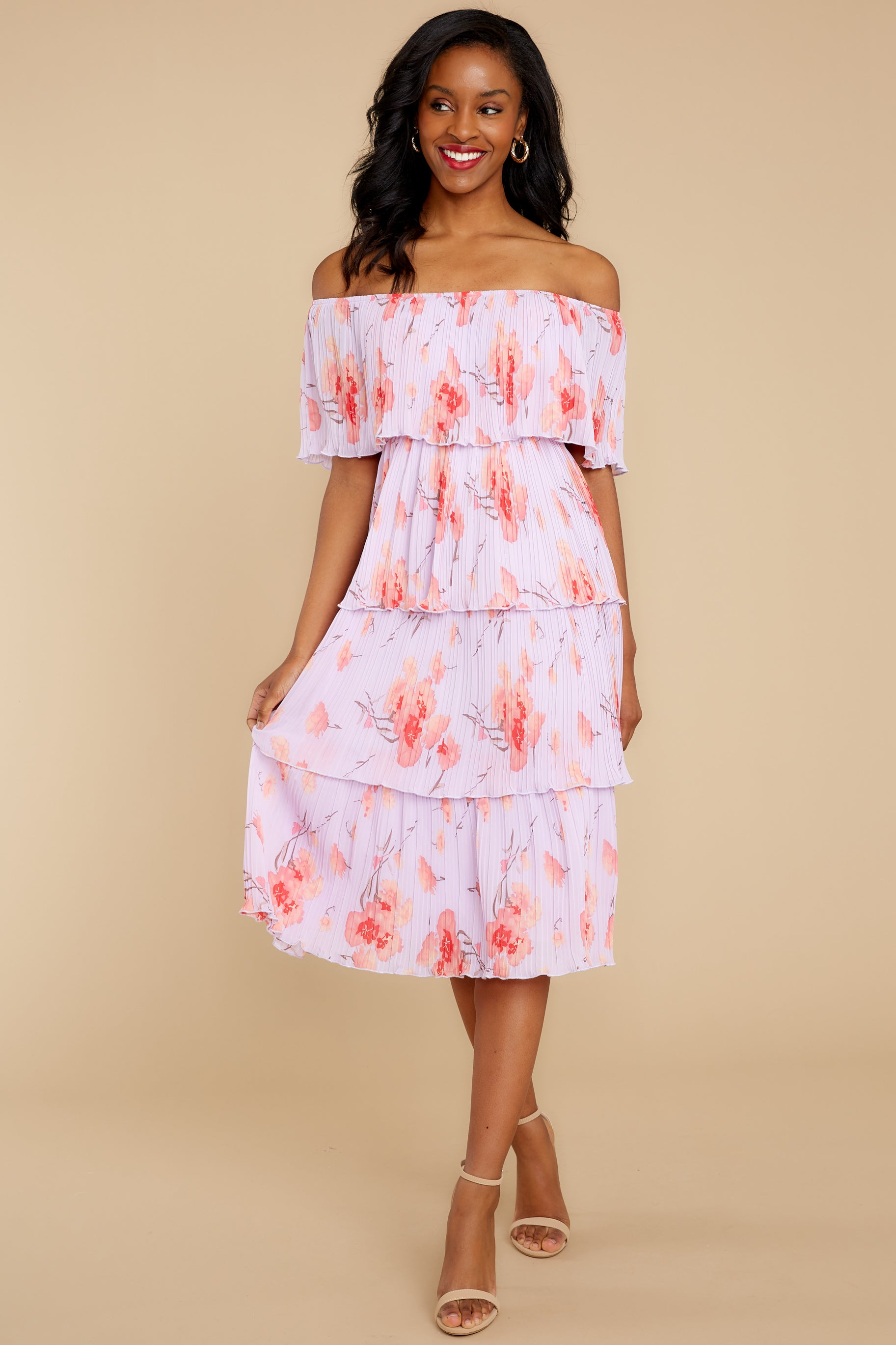 6 Walk Together Lavender Print Midi Dress at reddressboutique.com