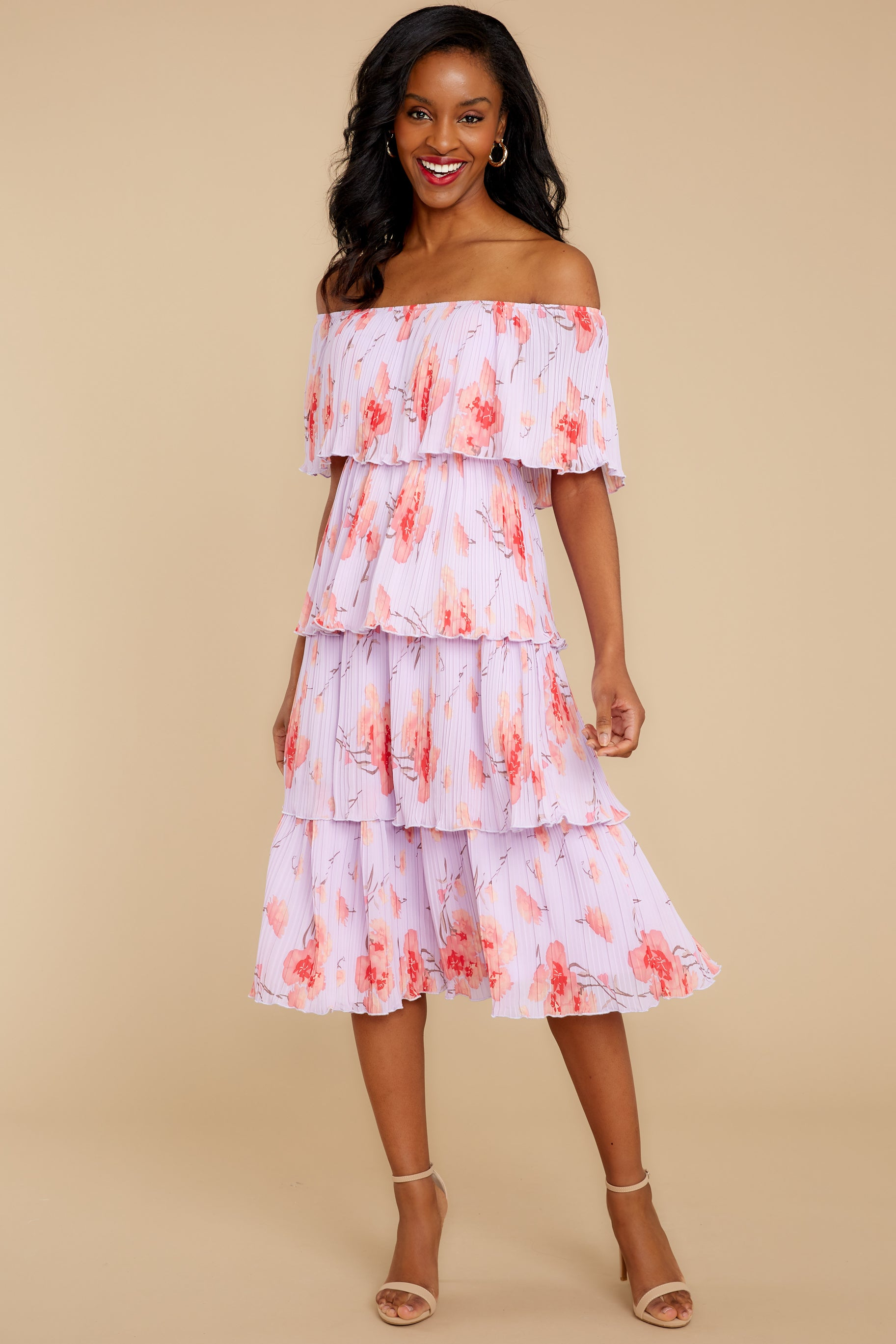 7 Walk Together Lavender Print Midi Dress at reddressboutique.com