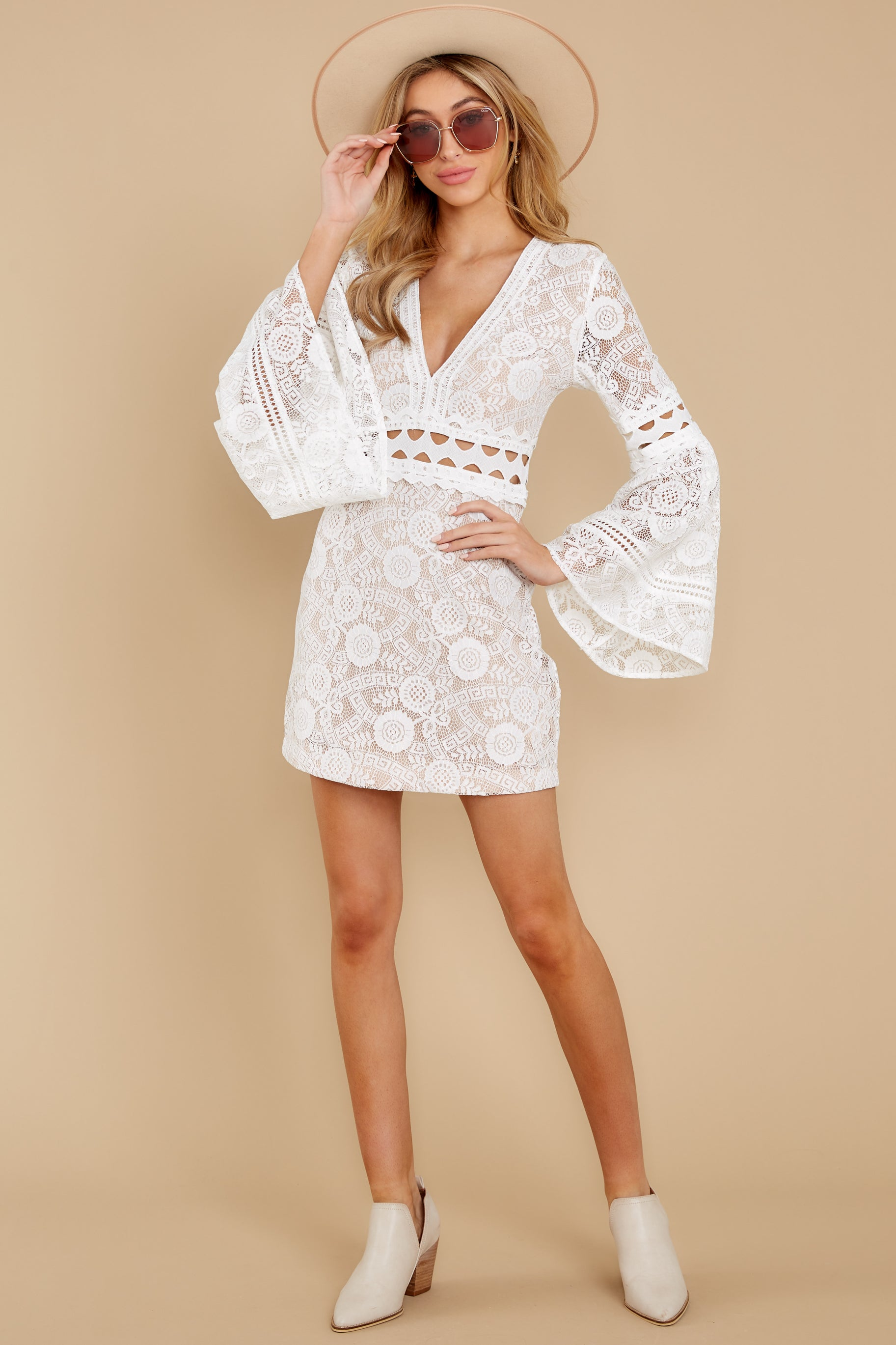 1 Clear Thoughts White Lace Dress at reddressboutique.com