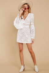 2 Clear Thoughts White Lace Dress at reddressboutique.com