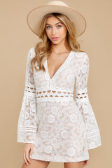 5 Clear Thoughts White Lace Dress at reddressboutique.com