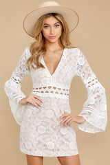 6 Clear Thoughts White Lace Dress at reddressboutique.com