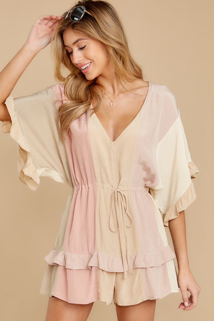 1 Legendary Allure Beige Romper at reddressboutique.com