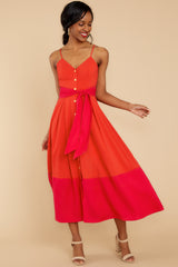 3 Forever Young Two Tone Red Midi Dress at reddress.com