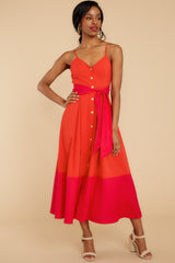 4 Forever Young Two Tone Red Midi Dress at reddress.com
