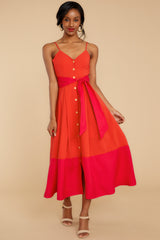 5 Forever Young Two Tone Red Midi Dress at reddress.com