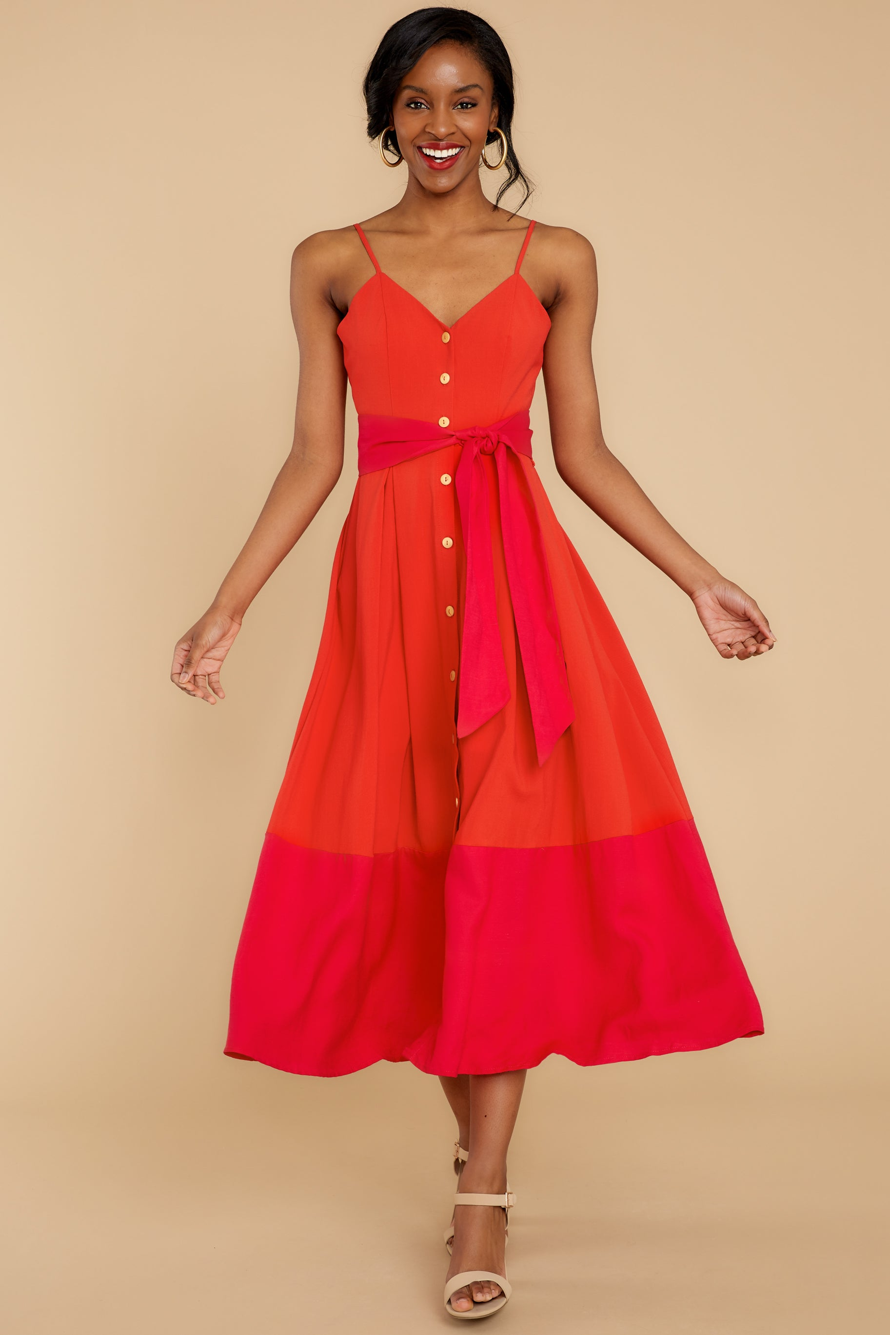 6 Forever Young Two Tone Red Midi Dress at reddress.com