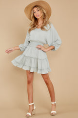 3 Got It Going On Light Sage Green Dress at reddressboutique.com
